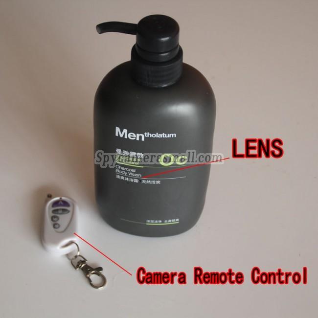 Men's shower Gel Spy Cameras Remote Control On/Off And Motion Detection HD Record 720P Bathroom Spy Camera DVR 16GB