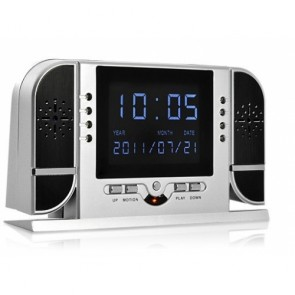 Motion Detection Clock Camera Recorder - LCD Video Play Back 720P Spy Hidden Clock Camera DVR motion-activated With IR LED Day/Night recording 16GB memeory card